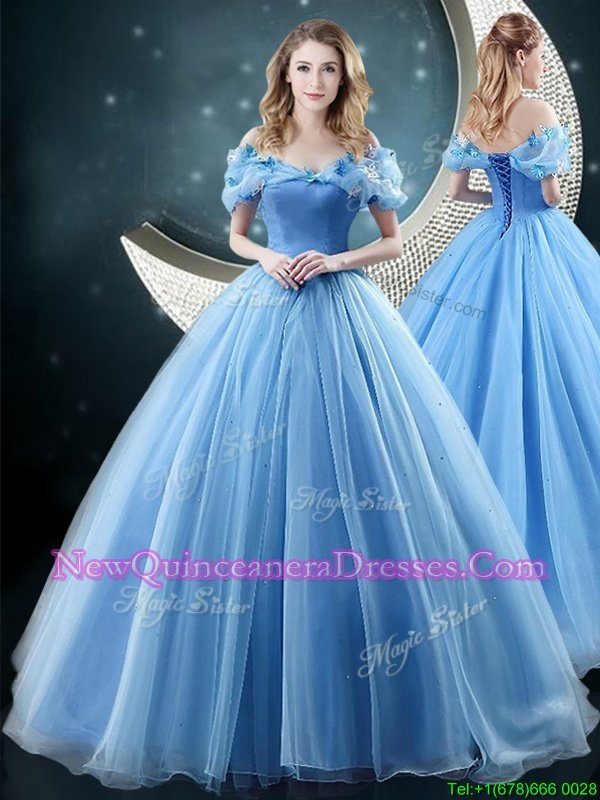 Charming Off the Shoulder Sleeveless Organza With Brush Train Lace Up Sweet 16 Dresses inBaby Blue withAppliques