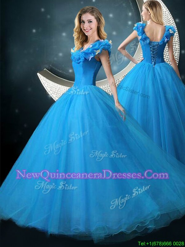 New Arrival V-neck Cap Sleeves Lace Up Ball Gown Prom Dress Blue Tulle