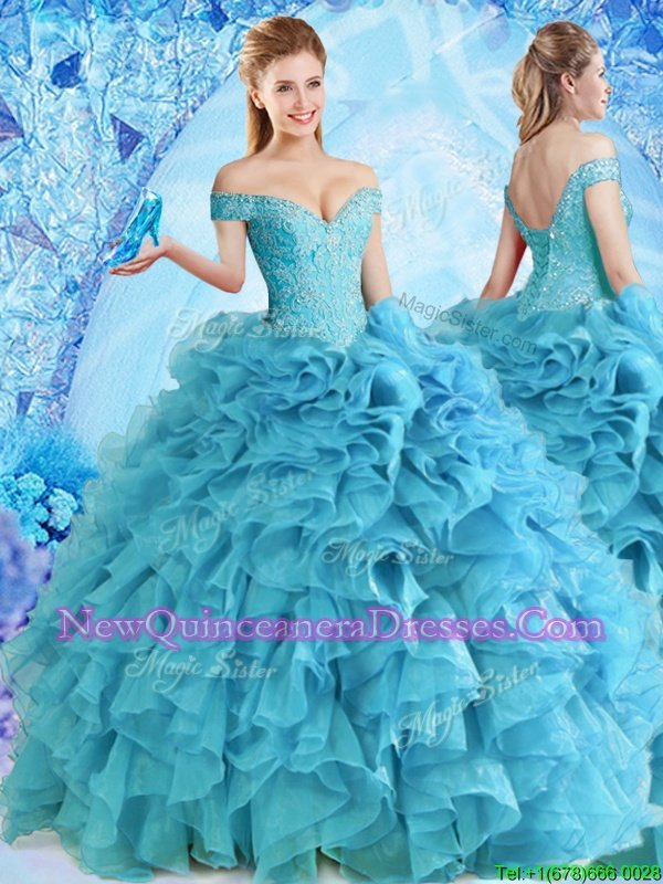 Fantastic Off the Shoulder Sleeveless Beading and Ruffles Lace Up 15 Quinceanera Dress