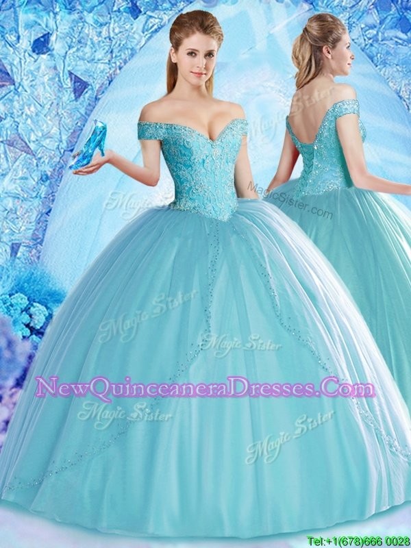 Gorgeous Aqua Blue Ball Gowns Tulle Off The Shoulder Sleeveless Beading Floor Length Lace Up Quince Ball Gowns