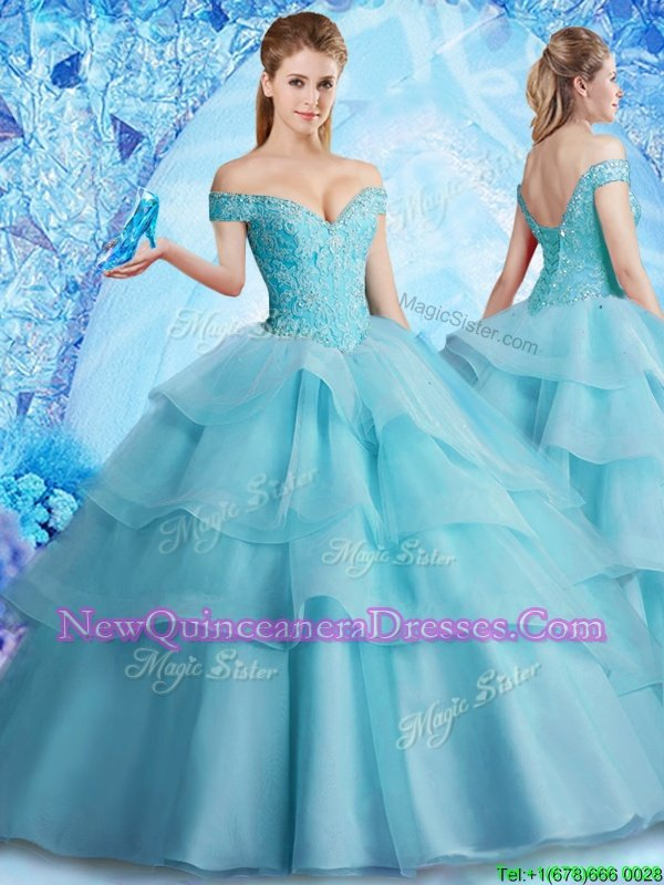 Exquisite Off the Shoulder With Train Lace Up Vestidos de Quinceanera Aqua Blue and In for Military Ball and Sweet 16 and Quinceanera withBeading and Ruffled Layers Brush Train