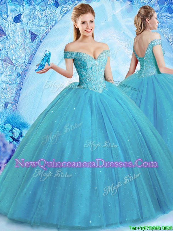 Customized Tulle Off The Shoulder Sleeveless Brush Train Lace Up Beading Sweet 16 Dresses inTeal