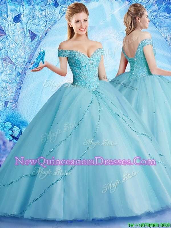 Glorious Off the Shoulder Aqua Blue Lace Up Sweet 16 Quinceanera Dress Beading Sleeveless With Brush Train