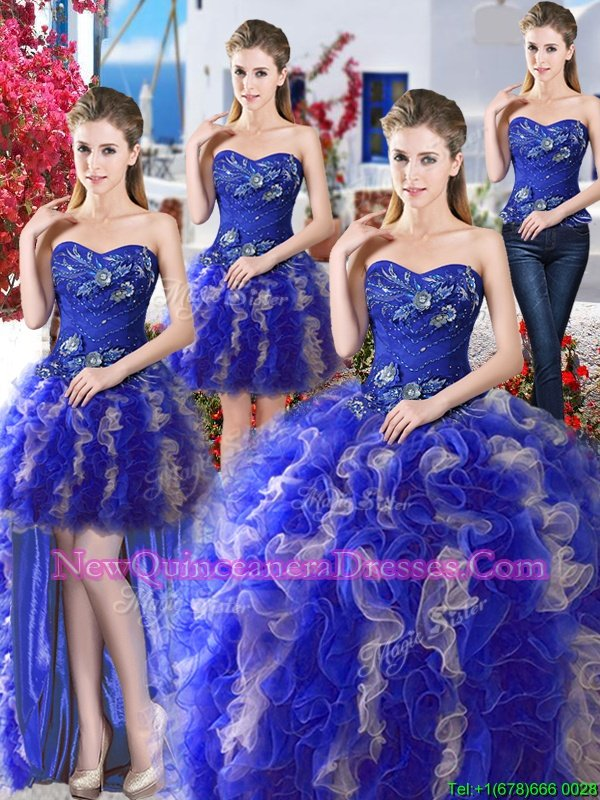 Trendy Four Piece Sleeveless Organza Floor Length Lace Up Sweet 16 Quinceanera Dress inRoyal Blue and Champagne withBeading