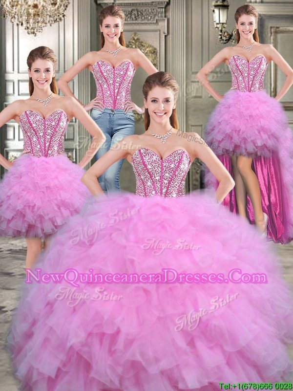 Four Piece Lilac Ball Gowns Tulle Sweetheart Sleeveless Beading Floor Length Lace Up Sweet 16 Dresses