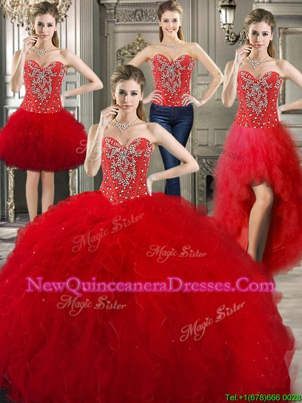 Wonderful Four Piece Red Sweetheart Lace Up Beading and Ruffles Vestidos de Quinceanera Sleeveless