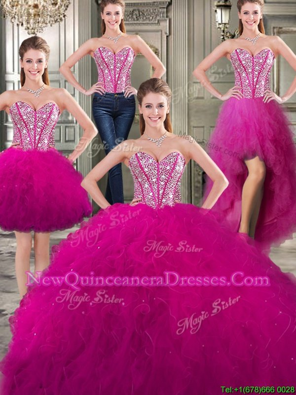 Custom Made Three Piece Sleeveless Tulle Floor Length Lace Up Quinceanera Gowns inFuchsia withBeading and Ruffles