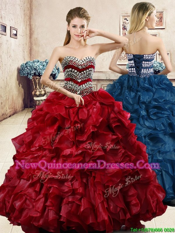 Charming Wine Red Sleeveless Beading and Ruffles Floor Length Sweet 16 Dresses