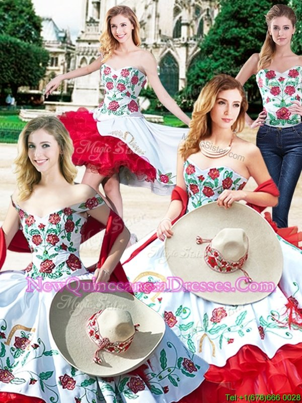 Customized Four Piece White And Red Ball Gowns Embroidery and Ruffles Ball Gown Prom Dress Lace Up Satin and Organza Sleeveless Floor Length